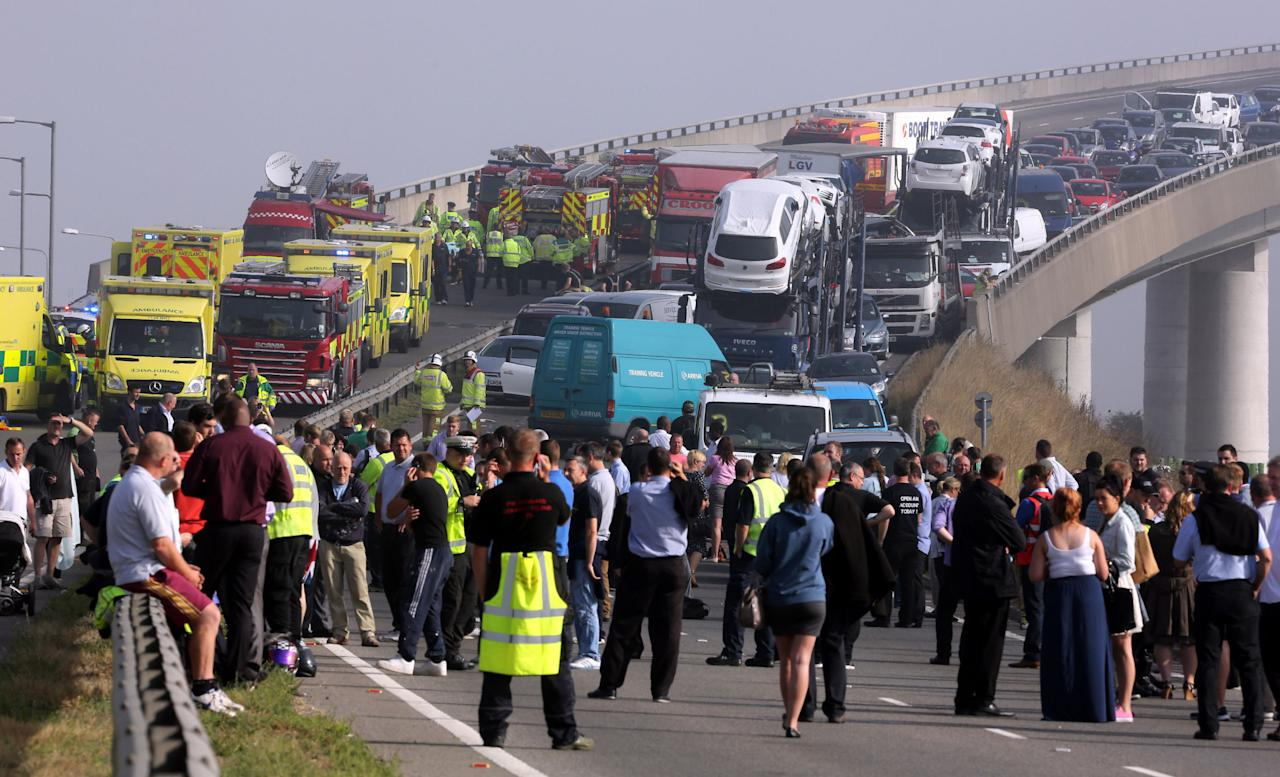 A general view of the scene on the London bound carriageway of the Sheppey Bridge Crossing near Sheerness in Kent following a multi vehicle collision earlier this morning.