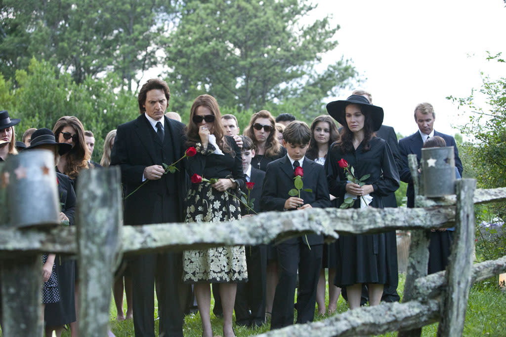 """Matt Ross as Johnny Cash and Jewel as June Carter Cash in the Lifetime Original Movie, """"Ring of Fire."""""""