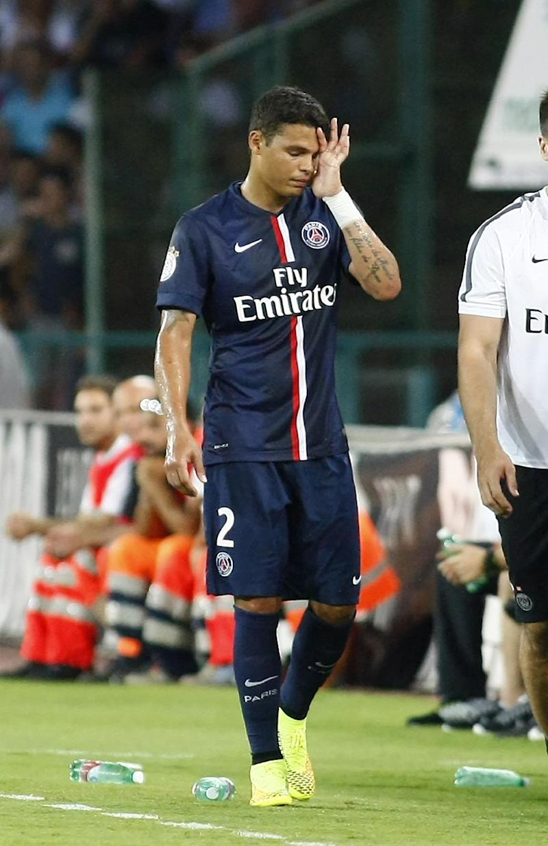 Paris Saint-Germain's Thiago Silva injured his hamstring in a friendly match against Napoli at the San Paolo Stadium in Naples, on August 11, 2014