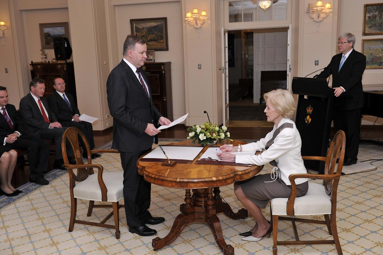 CANBERRA, AUSTRALIA - JUNE 27: In this handout photo provided by the AUSPIC, Anthony Alabanese is sworn in to the role of Deputy Prime Minister of Australia, by the Governor-General Quentin Bryce at Government House, on June 27, 2013 in Canberra, Australia. Kevin Rudd won an Australian Labor Party leadership ballot 57-45 last night, and was sworn in this morning as Australian Prime Minister by Governor-General Quentin Bryce. Rudd was Prime Minister from 2007 to 2010 before he was dumped by his party for his deputy Julia Gillard. Gillard has announced that she will leave parliament and not contest her seat following her ballot loss. (Photo by David Foote/AUSPIC via Getty Images)