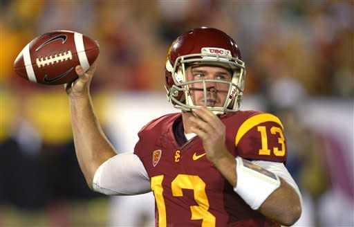 Southern California quarterback Max Wittek passes during the first half of an NCAA college football game against Notre Dame, Saturday, Nov. 24, 2012, in Los Angeles. (AP Photo/Mark J. Terrill)