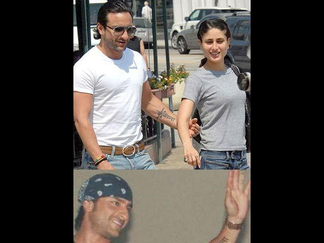 <b>4. Saif Ali Khan </b><br>Bollywood's steaming hot couple Saif and Kareena were the first ones to popularise this 'Tattoo of your partner' trend in Bollywood. Who can forget Chhote Nawab's famous tattoo for his lady love and now wife Kareena Kapoor. Saif got 'Kareena' inked on his forearm in the Devanagiri script, when he got into a relationship with the actress. This tattoo became an overnight talk of the town and remained so for a long time.