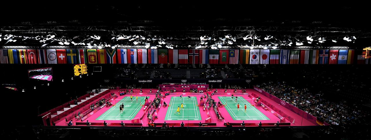LONDON, ENGLAND - JULY 28:  Players compete in Badminton during Day 1 of the London 2012 Olympic Games at Wembley Arena on July 28, 2012 in London, England.  (Photo by Michael Regan/Getty Images)