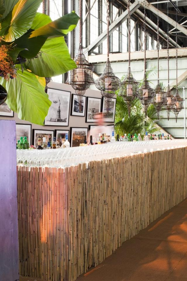 "<p>""A natural bamboo bar is great for a summer wedding and it is much easier to DIY than it probably looks. Just cover your table with a table cloth, then wrap the front and sides with natural bamboo fencing et voil?.""</p>"