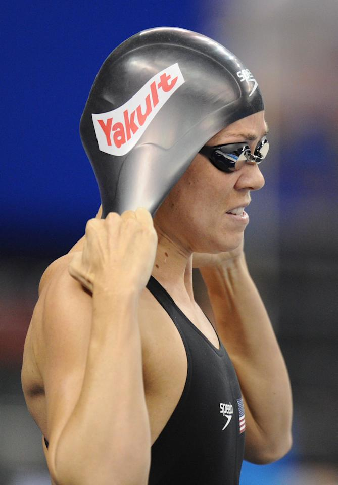 US swimmer Natalie Coughlin reacts after she competed in the final of the women's 100-metre freestyle swimming event in the FINA World Championships at the indoor stadium of the Oriental Sports Center in Shanghai on July 29, 2011.   AFP PHOTO / FRANCOIS XAVIER MARIT (Photo credit should read FRANCOIS XAVIER MARIT/AFP/Getty Images)
