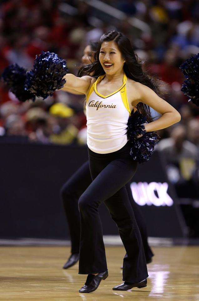 SAN JOSE, CA - MARCH 21:  A California Golden Bears cheerleader performs in the first half against the UNLV Rebels during the second round of the 2013 NCAA Men's Basketball Tournament at HP Pavilion on March 21, 2013 in San Jose, California.  (Photo by Ezra Shaw/Getty Images)