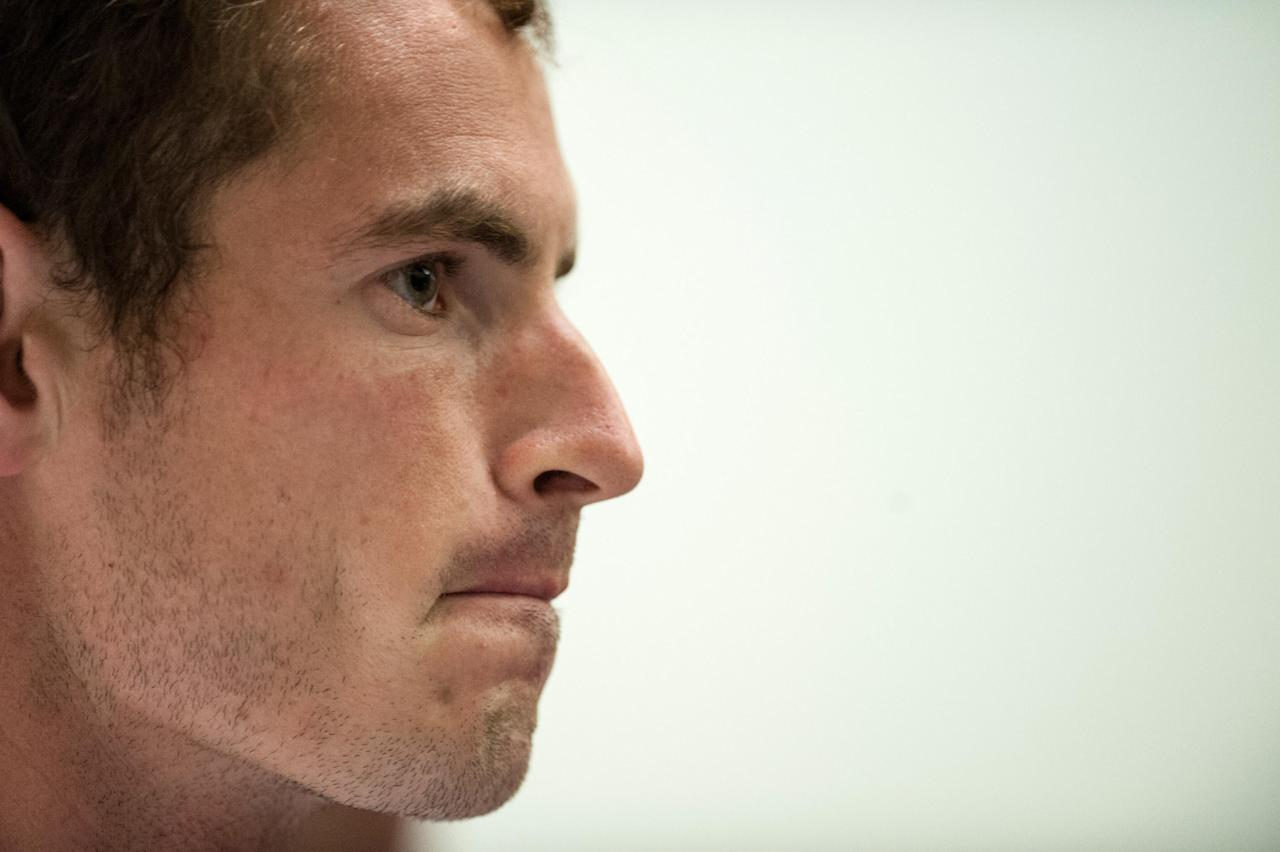 Andy Murray speaks during a press conference following the BNP Paribas Tennis Classic at the Hurlingham Club, London.