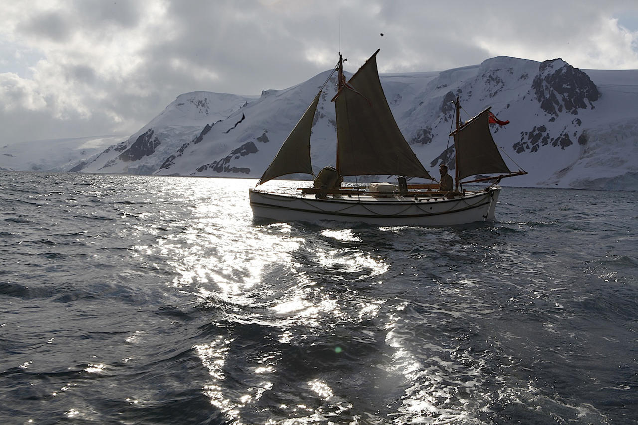 """In this Jan. 16, 2013 photo released by Shackleton Epic, adventurers aboard their boat Alexander Shackleton train sailing in the Southern Ocean. A modern-day team of six led by Tim Jarvis and Barry """"Baz"""" Gray used similar equipment and clothes to re-enact a 1916 expedition led by Ernest Shackleton to save his crew after their ship got stuck in Antarctica's icy waters. They reached an old whaling station on remote South Georgia island Monday, Feb. 11, 2013, 19 days after leaving Elephant Island. Just as Shackleton did in 1916, Jarvis and his team sailed 800 nautical miles across the Southern Ocean in a small lifeboat and then climbed over crevasse-filled mountains in South Georgia. (AP Photo/Shackleton Epic, Ed Wardle)"""