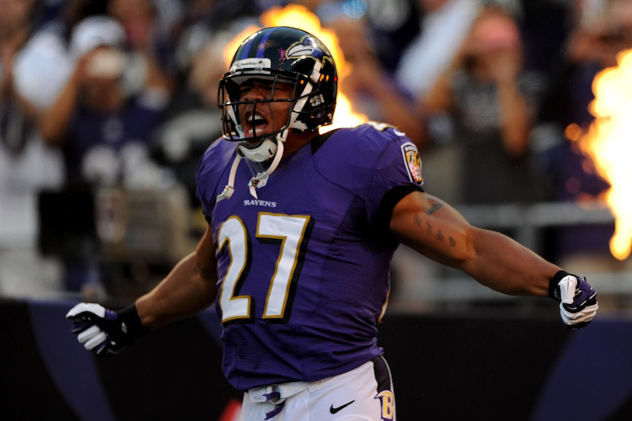 BALTIMORE, MD - SEPTEMBER 10:  Running back Ray Rice #27 of the Baltimore Ravens runs onto the field during player introductions before taking on the Cincinnati Bengals at M&T Bank Stadium on September 10, 2012 in Baltimore, Maryland.  (Photo by Patrick Smith/Getty Images)