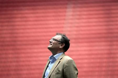 FIFA's Secretary General Valcke reacts during a visit to the Mane Garrincha National Stadium in Brasilia