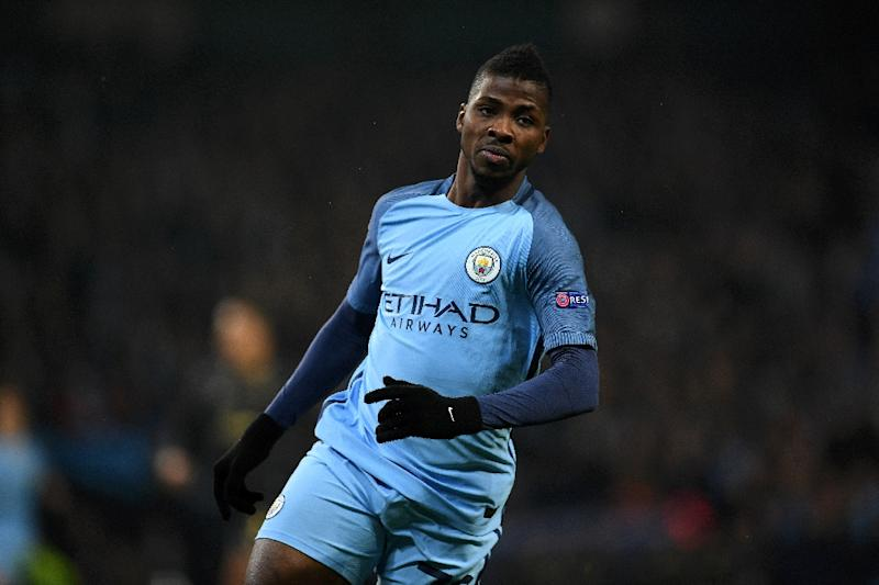 Manchester City's striker Kelechi Iheanacho celebrates scoring his team's first goal during the UEFA Champions League group C football match between Manchester City and Celtic at the Etihad Stadium in Manchester, northern England, on December 6, 2016