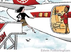 Illustration of a woman trying to board an airplane