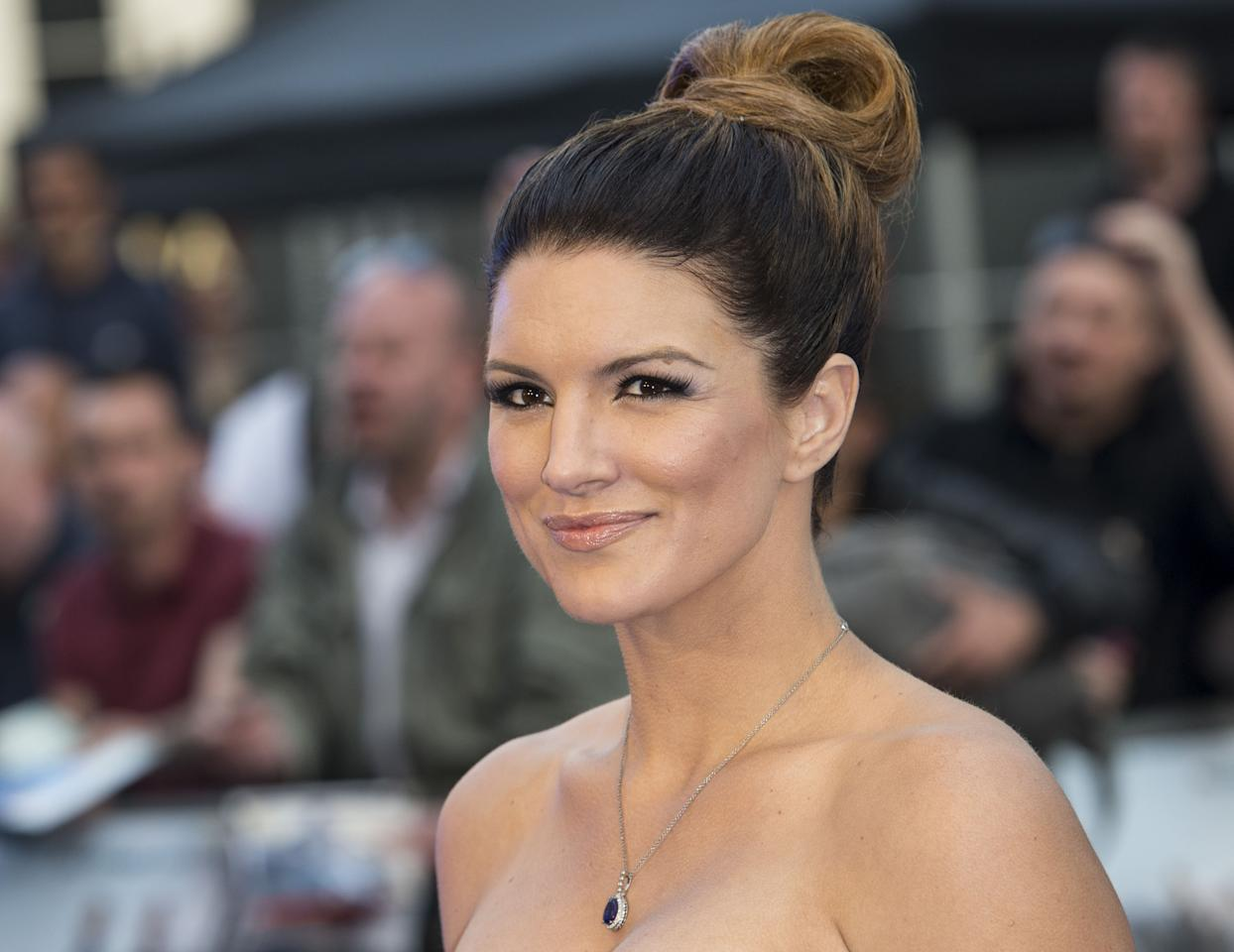 """LONDON, ENGLAND - MAY 07:  Gina Carano attends the World Premiere of '""""Fast & Furious 6""""' at Empire Leicester Square on May 7, 2013 in London, England.  (Photo by Mark Cuthbert/UK Press via Getty Images)"""