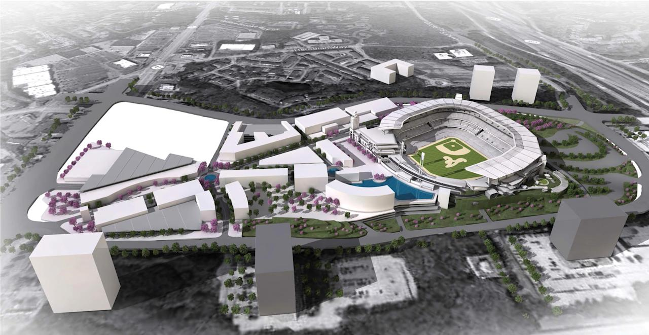 This artist rendering provided by the Atlanta Braves shows the team's proposed new ballpark and mixed-use development design in Cobb County. The Atlanta Braves release renderings of their proposed new stadium in suburban Cobb County, which they say will seat 41,500 and include plenty of revenue-generating amenities around the ballpark. The stadium is scheduled to open in 2017, replacing Turner Field. (AP Photo/Atlanta Braves)