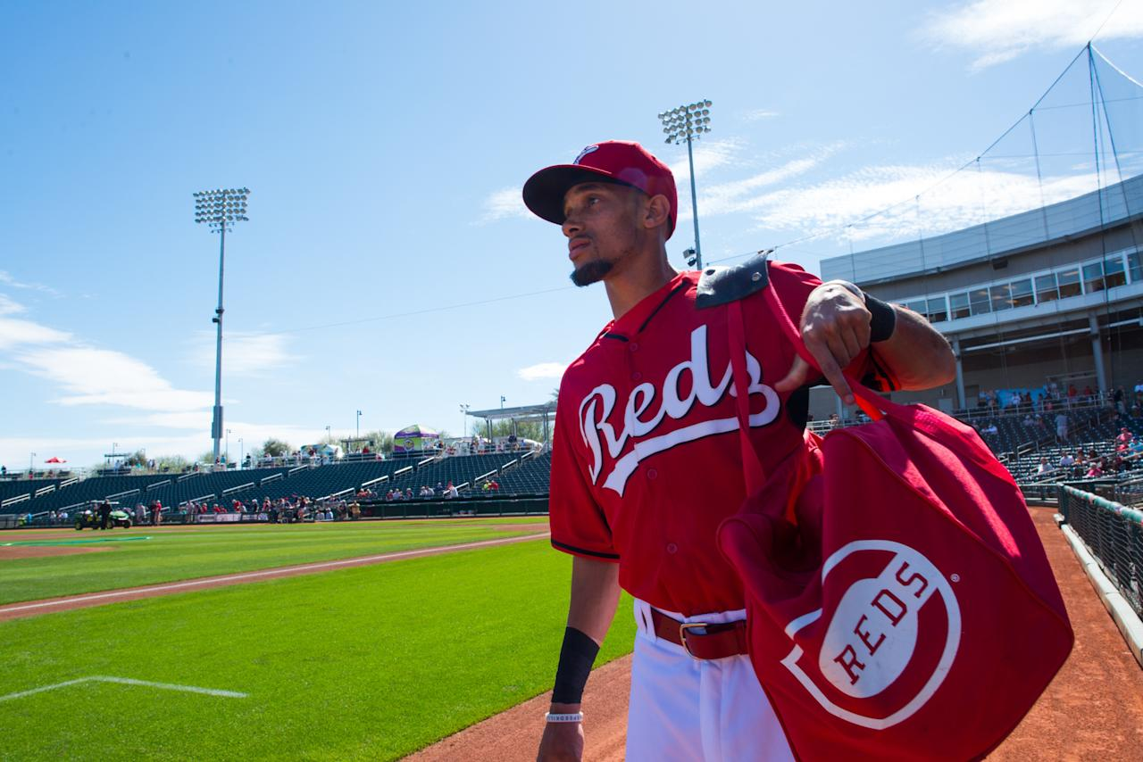 GOODYEAR, AZ - FEBRUARY 27: Billy Hamilton #6 of the Cincinnati Reds looks on before the game between the Cleveland Indians and the Cincinnati Reds at Goodyear Ballpark on February 27, 2014 in Goodyear, Arizona. (Photo by Rob Tringali/Getty Images)