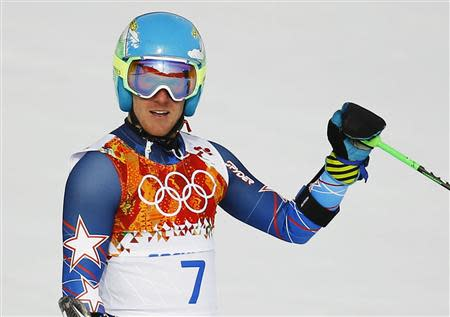Ted Ligety of the U.S. reacts after the first run of the men's alpine skiing giant slalom event in the Sochi 2014 Winter Olympics at the Rosa Khutor Alpine Center