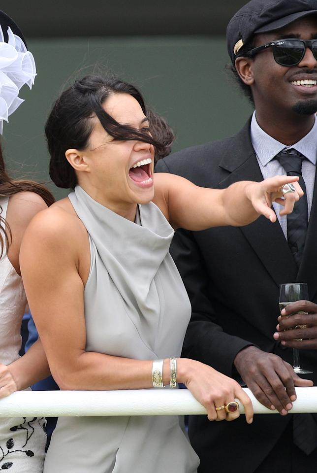 CHICHESTER, ENGLAND - AUGUST 02: Michelle Rodriguez attends ladies day at 'Glorious Goodwood' at Goodwood on August 2, 2012 in Chichester, England.  (Photo by Danny Martindale/Getty Images)