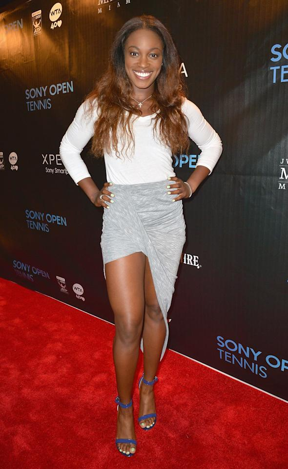 MIAMI, FL - MARCH 19:  Sloane Stephens arrives at Sony Open Player Party 2013 at JW Marriott Marquis on March 19, 2013 in Miami, Florida.  (Photo by Gustavo Caballero/Getty Images)
