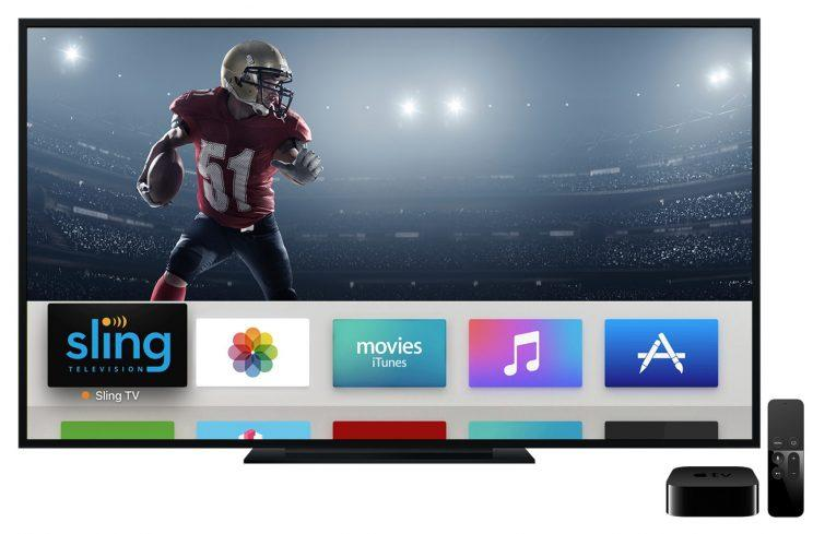The Sling TV app for Apple TV.