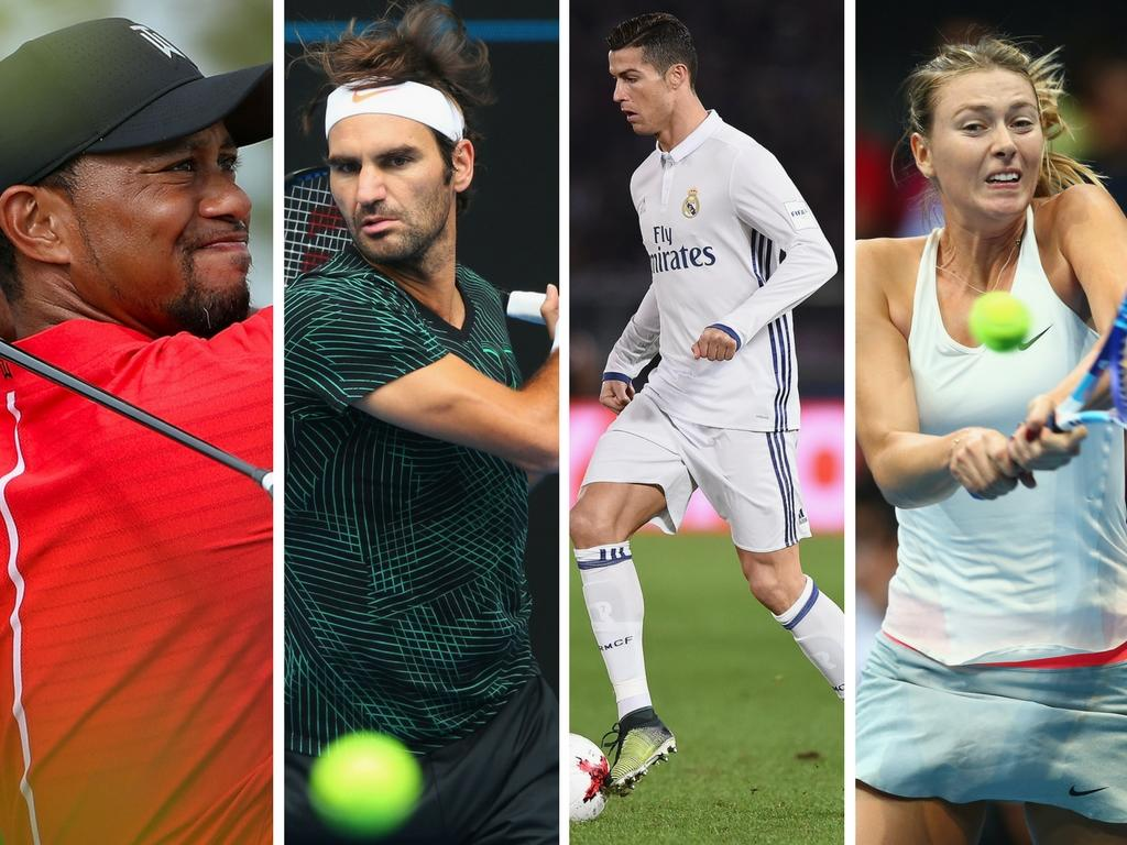 Federer earned as much as Ronaldo and Messi combined in 2016 while Tiger Woods banked £36m in sponsorship
