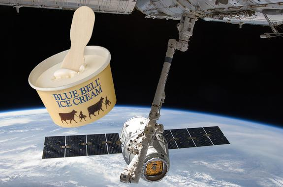 Ice cream is launching on board SpaceX's Dragon spacecraft on NASA's first contracted resupply flight to the space station in October 2012.