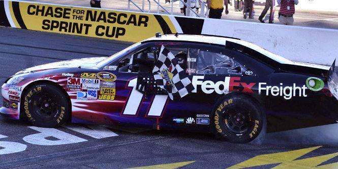 Denny Hamlin has made taking the checkered flag a habit of late. (Autostock)