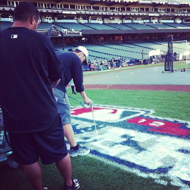 "Fresh paint being applied for ""World Series"" on the field @ AT&T Park. Quick turnaround by the crew (via @ysportsevan)"