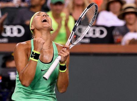 Mar 16, 2017; Indian Wells, CA, USA; Elena Vesnina (RUS) celebrates match point as she defeated Venus Williams (not pictured) in the quarter final match in the BNP Paribas Open at the Indian Wells Tennis Garden. Mandatory Credit: Jayne Kamin-Oncea-USA TODAY Sports