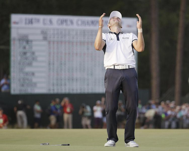 Martin Kaymer celebrates after winning the U.S. Open. (AP)
