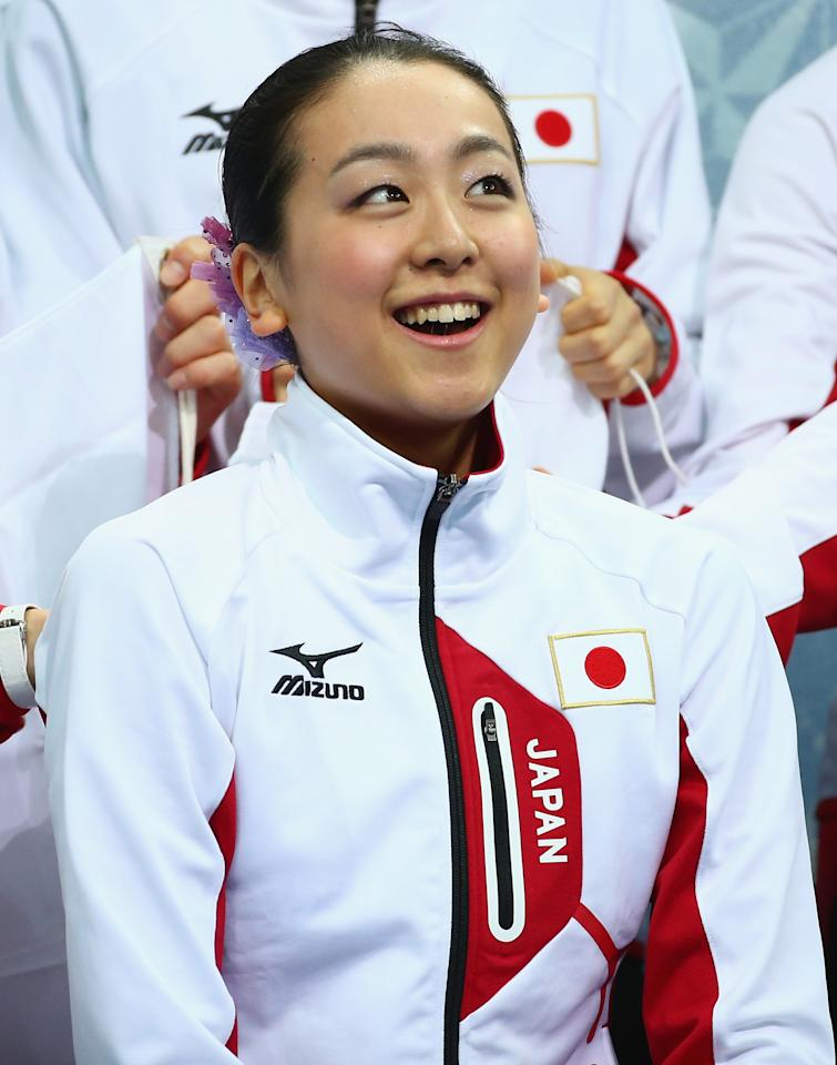 SOCHI, RUSSIA - FEBRUARY 08: Mao Asada of Japan is seen after competing in the Figure Skating Team Ladies Short Program during day one of the Sochi 2014 Winter Olympics at Iceberg Skating Palace on February 8, 2014 in Sochi, Russia. (Photo by Robert Cianflone/Getty Images)