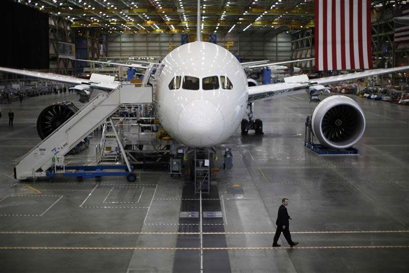 File photo of a Boeing 787 Dreamliner under construction at the Boeing facility in Everett