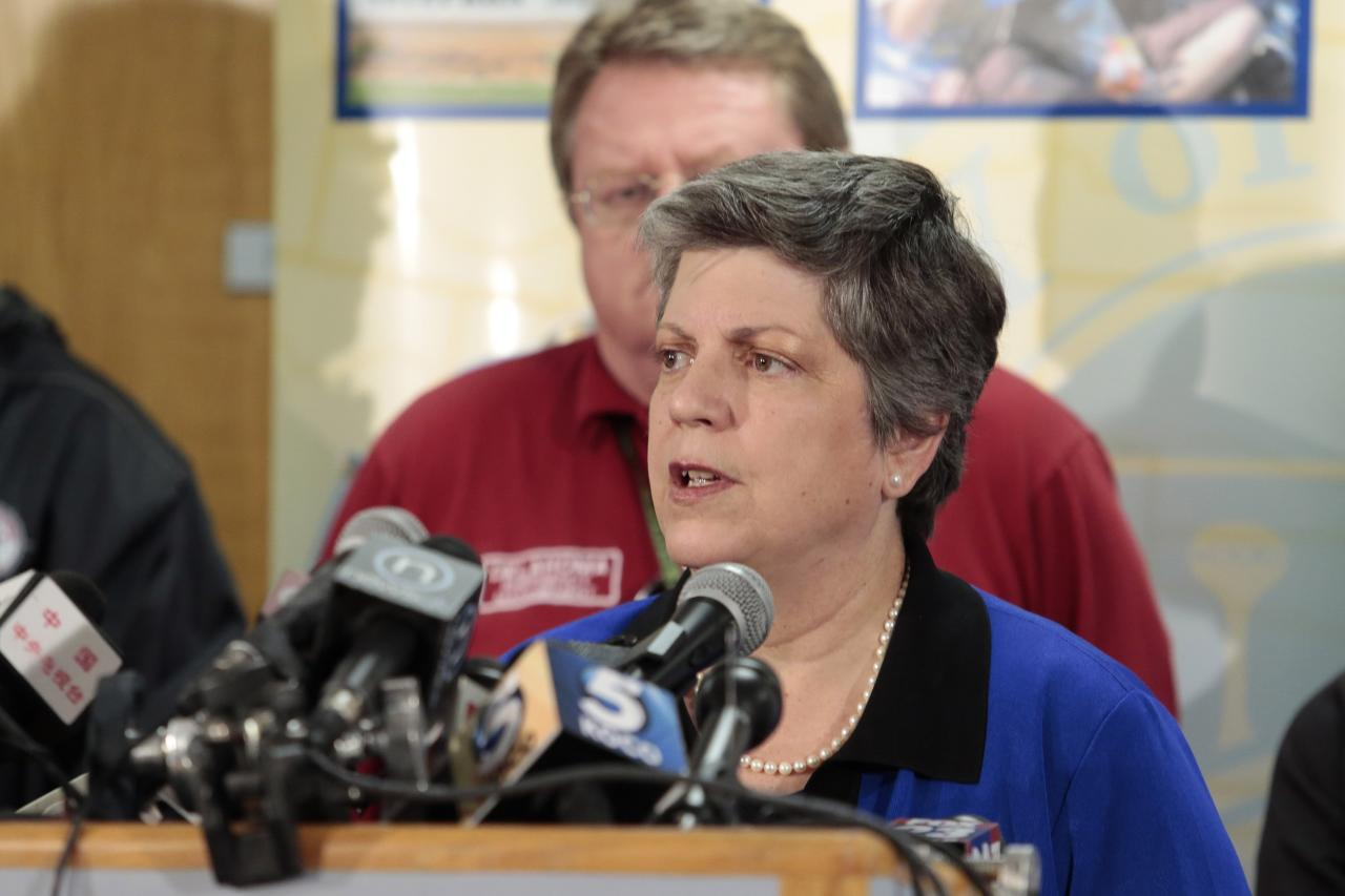 MOORE, OK - MAY 22:  U.S. Secretary of Homeland Security Janet Napolitano speaks during a press conference May 22, 2013 in Moore, Oklahoma. The two-mile-wide Category 5 tornado touched down May 20 killing at least 24 people and leaving behind extensive damage to homes and businesses. U.S. President Barack Obama promised federal aid to supplement state and local recovery efforts.   (Photo by Brett Deering/Getty Images)
