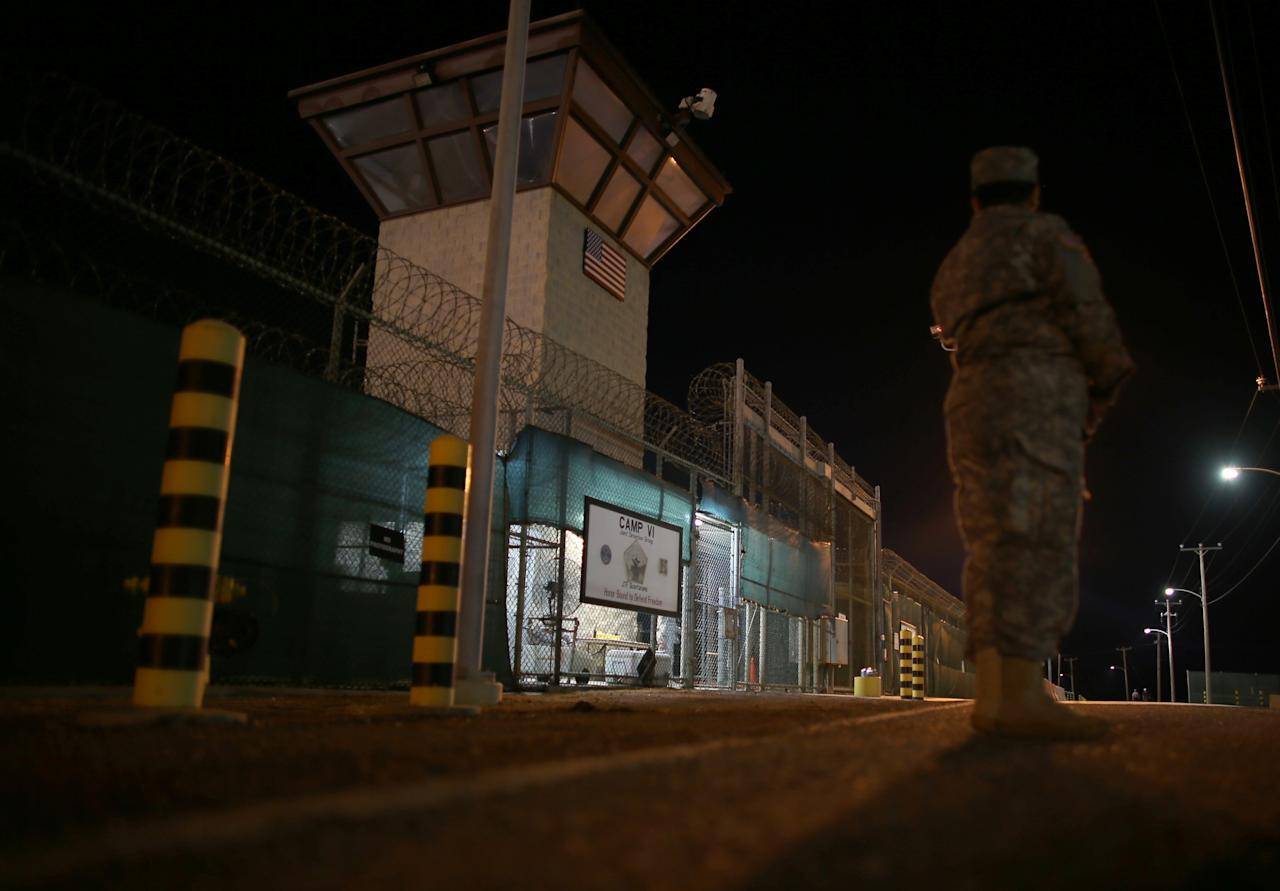 GUANTANAMO BAY, CUBA - JUNE 26: (EDITORS NOTE: Image has been reviewed by the U.S. Military prior to transmission.) The entrance to Camp VI is seen at the U.S. military prison for 'enemy combatants' on June 26, 2013 in Guantanamo Bay, Cuba. President Barack Obama has recently spoken again about closing the prison which has been used to hold prisoners from the invasion of Afghanistan and the war on terror since early 2002. (Photo by Joe Raedle/Getty Images)