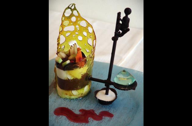 "The Fortress hotel in Sri Lankasis charging US$14,500 (10,269) for what it calls the world's most expensive dessert, called ""Fisherman Indulgence"". It is a fruit-infused confection complete with a chocolate sculpture and a gigantic gemstone."