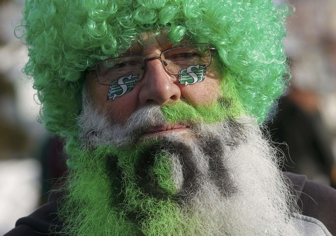 A Saskatchewan Roughrider fan dressed up in a wig and painted beard gets ready outside the stadium for the 101st Grey Cup game between the Saskatchewan Roughriders and the Hamilton Tiger Cats in Regina, Saskatchewan November 24, 2013. REUTERS/Todd Korol (CANADA - Tags: SPORT FOOTBALL)