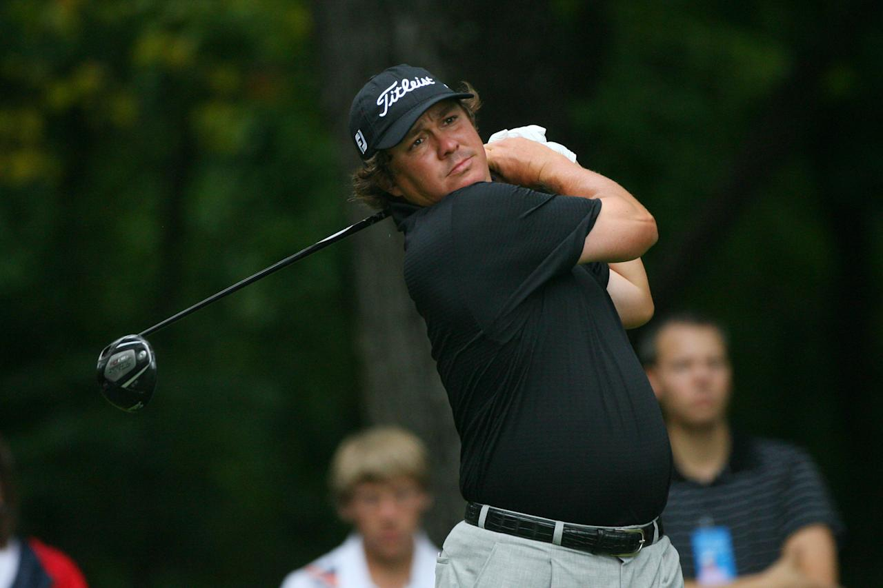 GREENSBORO, NC - AUGUST 19: Jason Dufner hits his tee shot on the second hole during the final round of the Wyndham Championship at Sedgefield Country Club on August 19, 2012 in Greensboro, North Carolina. (Photo by Hunter Martin/Getty Images)