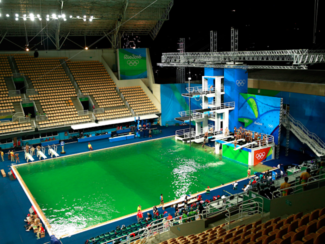Water at Olympic Diving Pool Still Green After Cleaning Closure