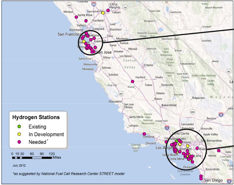 toyota fuel cell station development map bay area