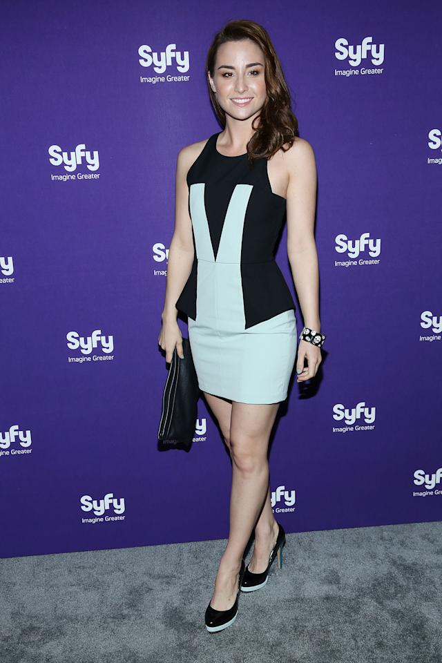 "NEW YORK, NY - APRIL 10:  Allison Scagliotti of ""Warehouse 13"" attends Syfy 2013 Upfront at Silver Screen Studios at Chelsea Piers on April 10, 2013 in New York City.  (Photo by Rob Kim/Getty Images)"