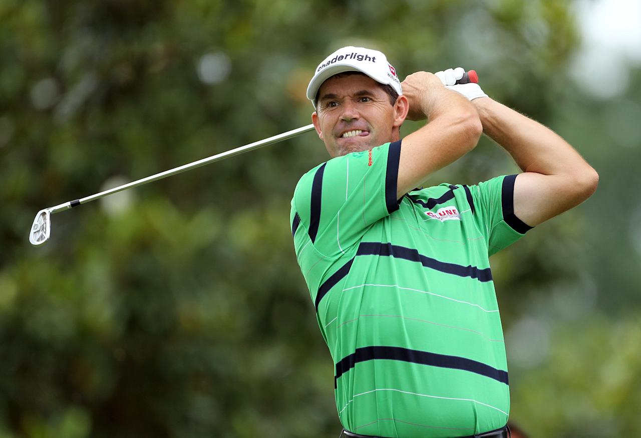 MEMPHIS, TN - JUNE 08:  Padraig Harrington  of Ireland hits his tee shot on the par 3 8th hole during the second round of the FedEx St. Jude Classic at TPC Southwind on June 8, 2012 in Memphis, Tennessee.  (Photo by Andy Lyons/Getty Images)
