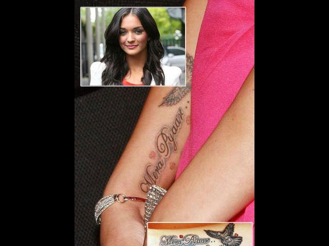 """<b>2. Amy Jackson </b><br> Amy who has always termed her relationship with Prateik as Bollywood's cliché """"good friends"""" has finally made her relationship public but the tattoo way. This hot British girl confessed love for her co-star inked in bold letters saying """"Mera Pyaar, Mera Prateik"""". Now, this is loud enough to draw out the curtain from their secret love affair."""