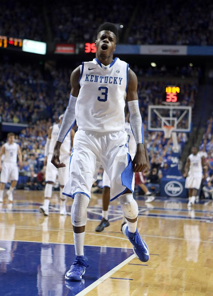 LEXINGTON, KY - NOVEMBER 16:  Nerlens Noel #3 of the Kentucky Wildcats celebrates during the game against Lafayette Leopards at Rupp Arena on November 16, 2012 in Lexington, Kentucky.  Kentucky won 101-49.  (Photo by Andy Lyons/Getty Images)