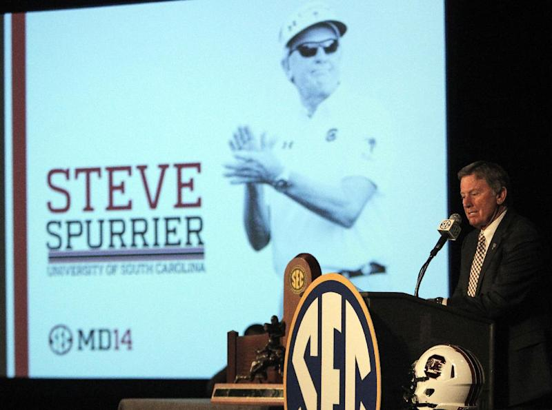 South Carolina football coach Steve Spurrier speaks to media at the Southeastern Conference media days, Tuesday, July 15, 2014, in Hoover, Ala