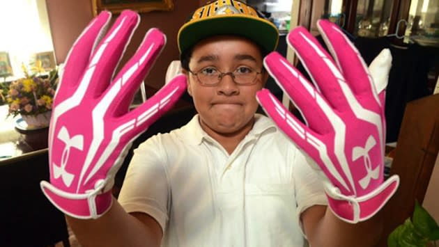 New Jersey middle schooler Julian Connerton shows his infamous pink gloves — ABC News/Danny Drake/Press of Atlantic City