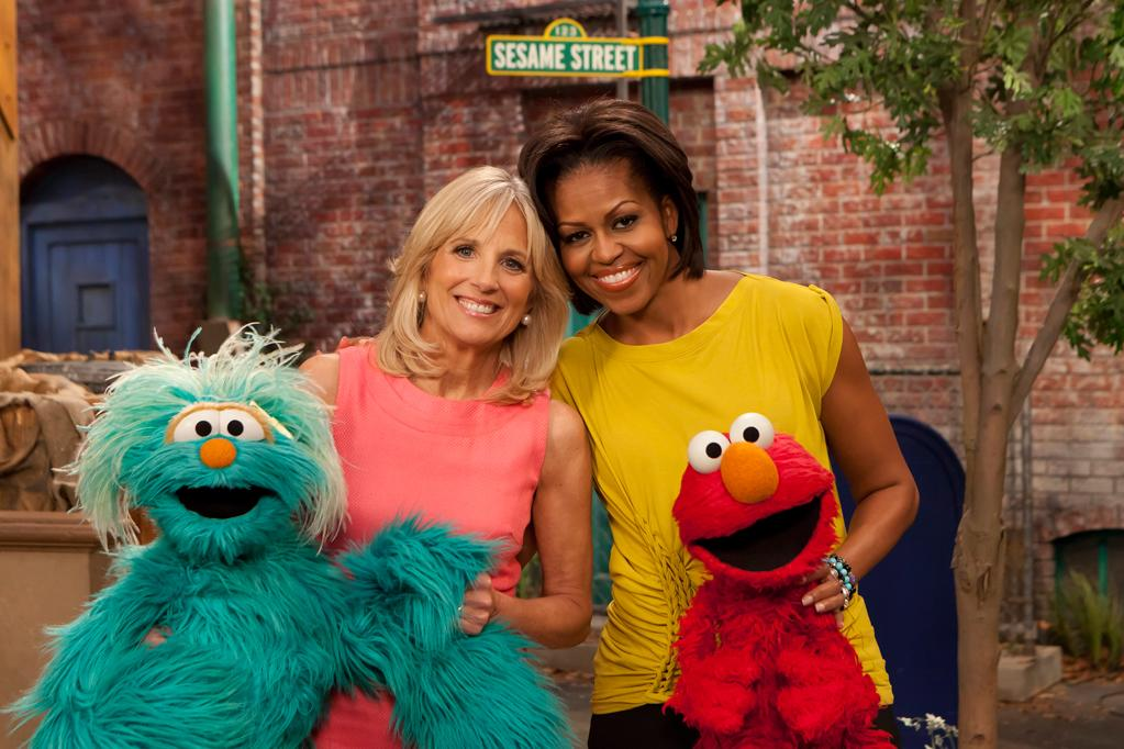 "Photo by: (AP Photo/Sesame Workshop, Richard Termine)<br />Michelle Obama and Dr. Jill Biden during a visit ""Sesame Street"" on April 18, 2011-<br />Michelle Obama, right, and Dr. Jill Biden, wife of Vice President Joe Biden, pose with characters Rosita, left, and Elmo during a visit ""Sesame Street"" on, Monday, April 18, 2011, to tape public service announcements asking all Americans to support military families."