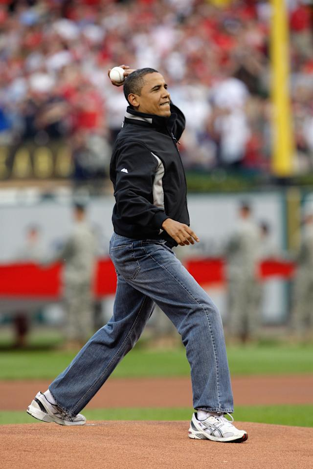 ST. LOUIS, MO - JULY 14:  President Barack Obama throws the first pitch before the 2009 MLB All-Star Game at Busch Stadium on July 14, 2009 in St Louis, Missouri. (Photo by Jamie Squire/Getty Images)