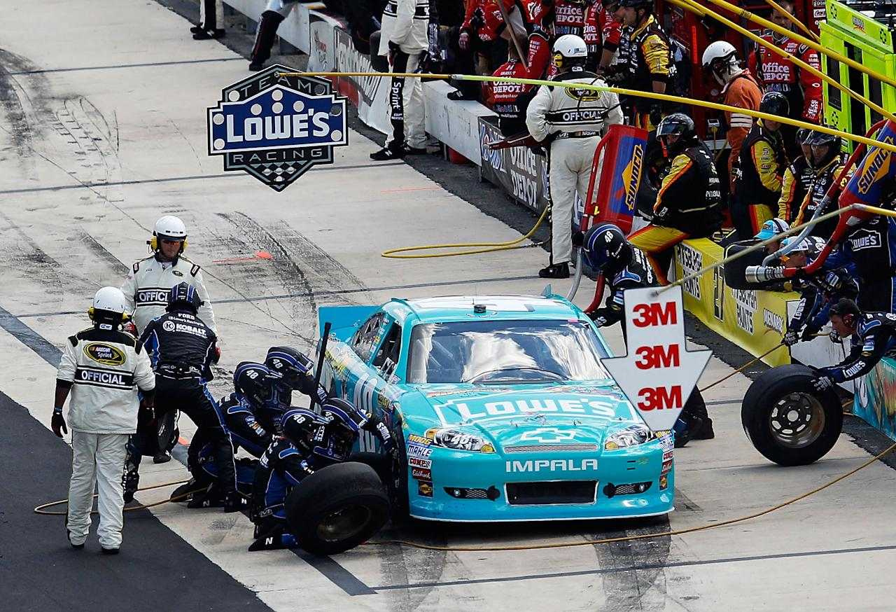 DOVER, DE - JUNE 03:  Jimmie Johnson, driver of the #48 Lowe's Madagascar Chevrolet, pits during the NASCAR Sprint Cup Series FedEx 400 benefiting Autism Speaks at Dover International Speedway on June 3, 2012 in Dover, Delaware.  (Photo by Rob Carr/Getty Images for NASCAR)