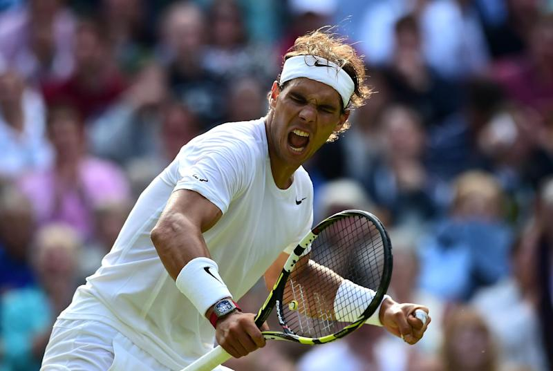 Rafael Nadal celebrates during his Wimbledon match against Nick Kyrgios in London on July 1, 2014