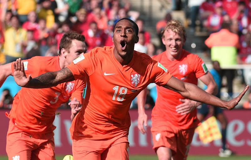Netherlands' midfielder Leroy Fer celebrates scoring during the match against Chile at the Corinthians Arena in Sao Paulo, Brazil during the 2014 FIFA World Cup, on June 23, 2014