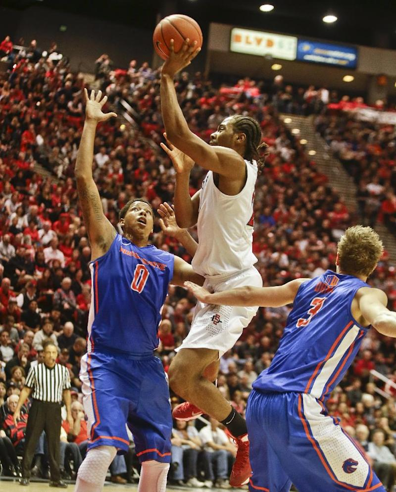 No. 13 SDSU holds on for 69-66 win over Boise St